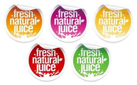 Fresh natural juice stickers set.