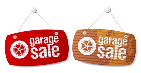 tire shop: Garage for sale signs in form of roller shutters. Illustration