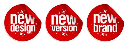business products: New Brand, Design, Version stickers set.