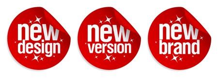 merken: New Brand, Ontwerp, versie stickers set.