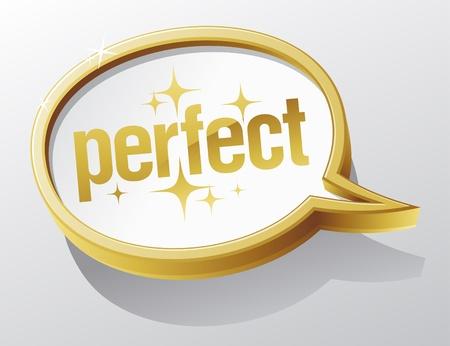 Perfect shiny gold speech bubble. Stock Vector - 10848280