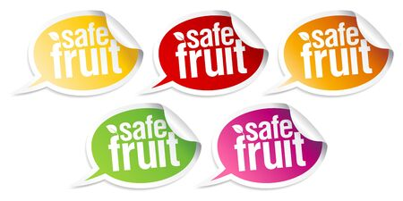 Safe fruit stickers set for clean products. Stock Vector - 10848311