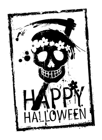 scythe: Happy Halloween rubber stamp with grunge skull.