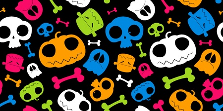 scull: Halloween seamless background.