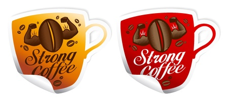 Strong coffee stickers in form of cup. Vector