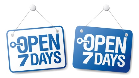 informative: 7 Days Open signs set