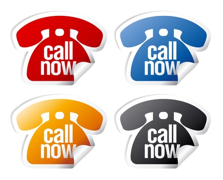 buy now: Call now stickers set. Illustration