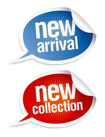 New collection stickers set in form of speech bubbles. Vector