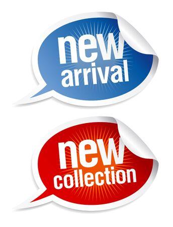Nieuwe collectie stickers set in de vorm van tekstballonnen.