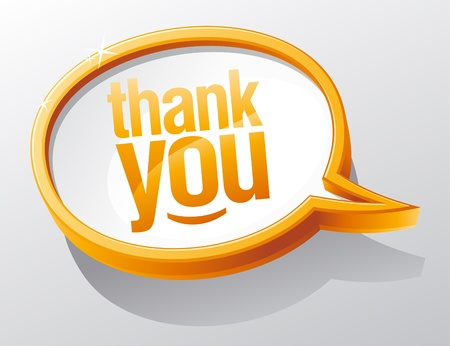 thanks you: Thank you shiny glass speech bubble.