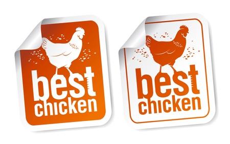 Best chicken meat stickers set Vector