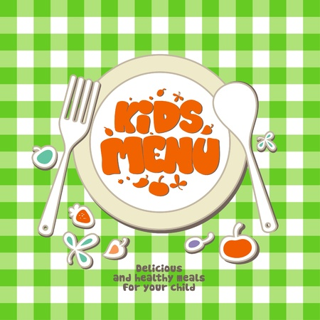 children eating: Kids Menu Card Design template.