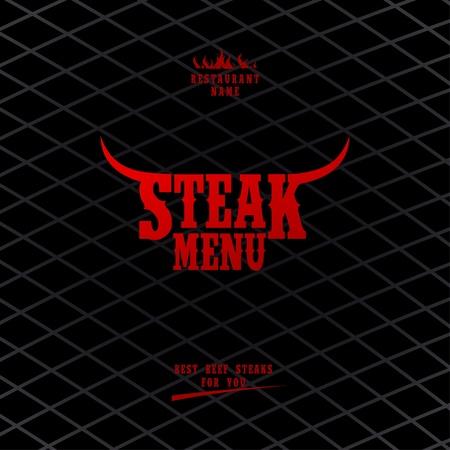 beef steak: Men� filete de dise�o de tarjetas de la plantilla.