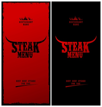 steak beef: Steak Menu Card Design template. Illustration