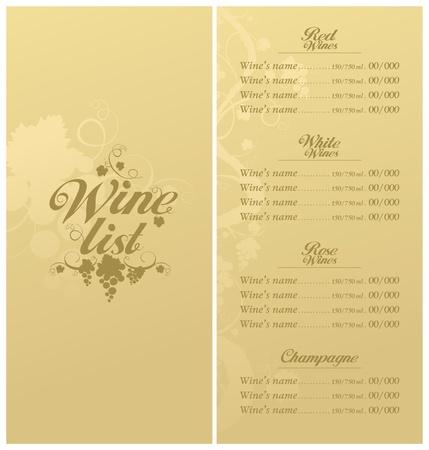 Liste des menus du Vin de conception de modèle de carte.