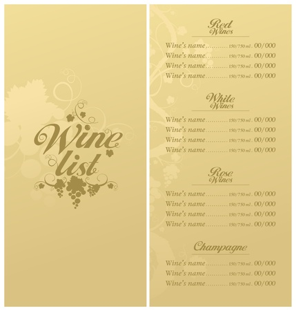 Wine List Menu Card Design template. Stock Vector - 11011781