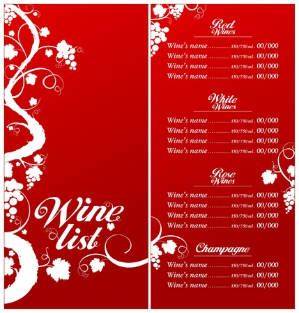 Wine List Menu Card Design template. Stock Vector - 11011782