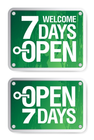 welcome business: 7 Days Open signs set