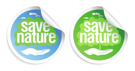 save planet: Save nature signs set. Illustration