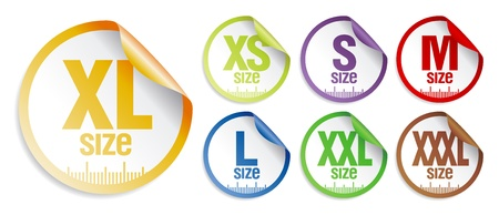 xl: size clothing stickers set