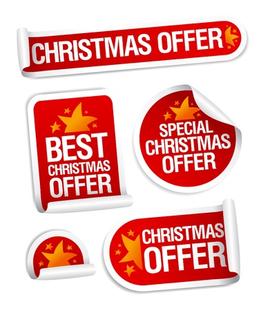 aankomst: Best Christmas biedt stickers in te stellen. Stock Illustratie