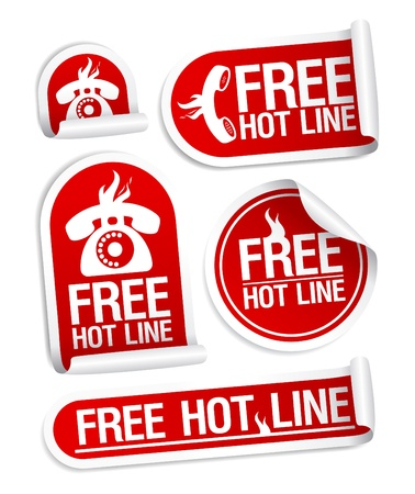 Free Hot Line stickers set. Stock Vector - 11142533