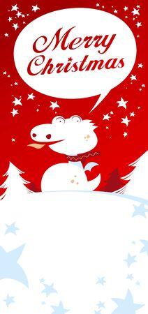Christmas card with Dragon, talking Merry Christmas. Vector