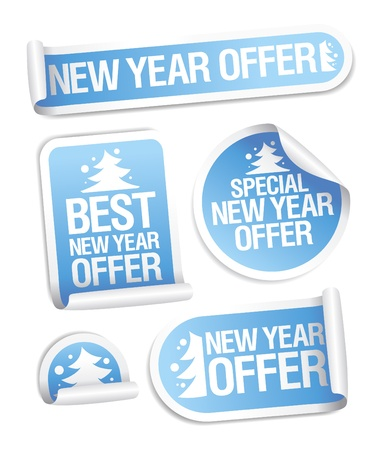 Best New Year offer stickers set. Vector