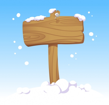 Wooden board against of a winter landscape. Christmas illustration. Vector