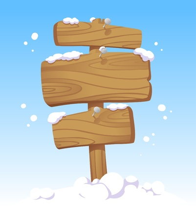 Wooden boards against of a winter landscape. Christmas illustration. Vector