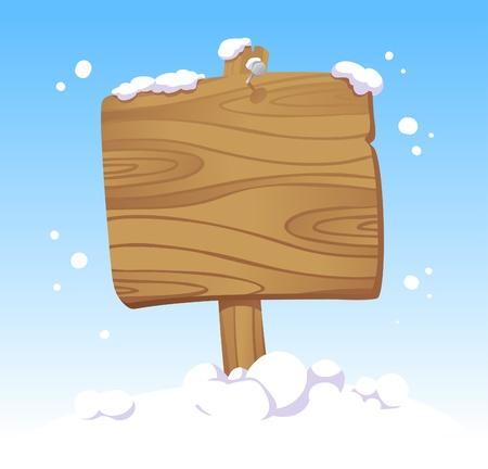 Houten plank tegen van een winterlandschap. Kerst illustratie.