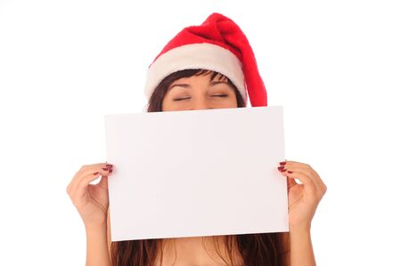 christmas girl with blank banner, isolated on white background. photo