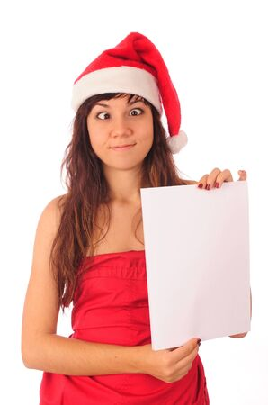 Funny christmas girl with blank banner, isolated on white background. photo
