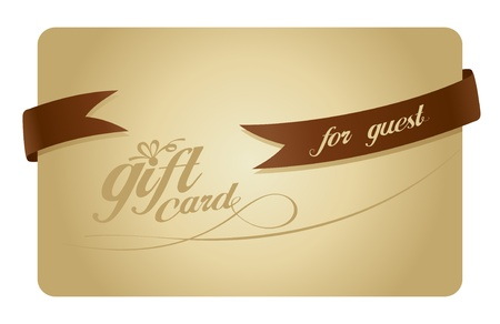 Gold Gift card for guest with ribbon. Vector