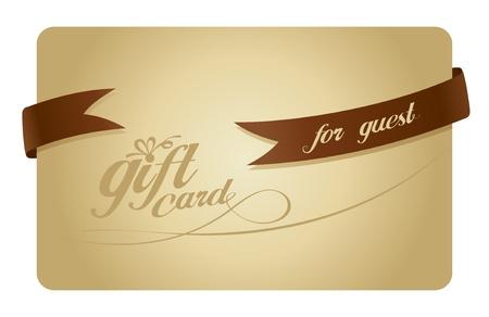 guests: La tarjeta de regalo de oro para los hu�spedes con una cinta. Vectores