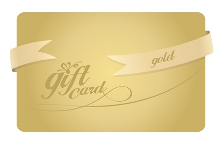 Gold Gift card with ribbon. Vector