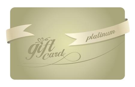 platina: Platinum Gift card met lint. Stock Illustratie