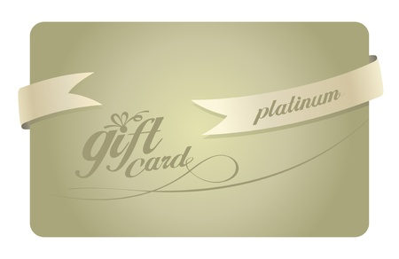 Platinum Gift card with ribbon. Vector