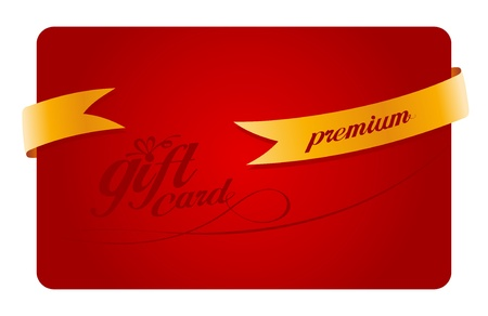 Premium Gift card with gold ribbon. Vector
