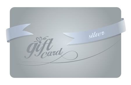 Silver Gift card with ribbon. Vector