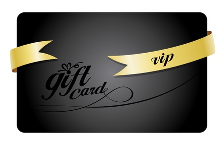 plastic card: Vip Gift card with ribbon. Illustration