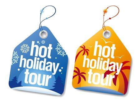 hot tour: Hot holiday tour labels set.