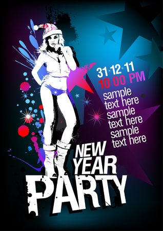 New Year Party design template with fashion girl and place for text. Vector