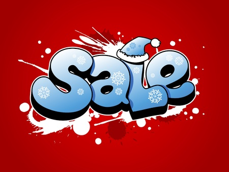 Christmas sale vector illustration with snow splashes. Vector