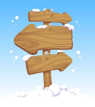 kerst markt: Houten wijzer raad tegen van een winterlandschap. Kerst illustratie.