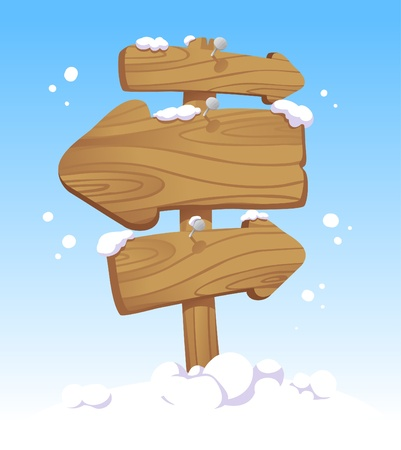 snow ski: Wooden pointer board against of a winter landscape. Christmas illustration.