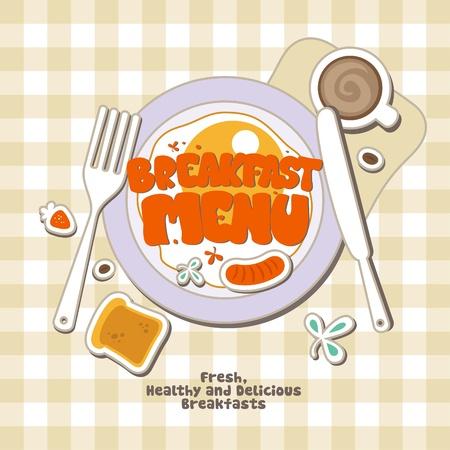Plantilla de diseño de tarjeta de menú de desayuno. Ilustración de vector