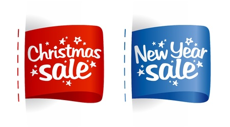 discount banner: New year and Christmas Sale clothing labels. Illustration