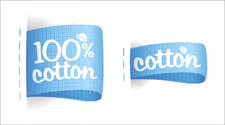 clothing tag: Clothing labels for cotton production. Illustration