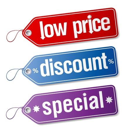 low price: Set di etichette per vendite di sconto.